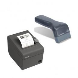 Epson TM-T20II (USB 2.0 / Série) + Datalogic Touch 65 Lite + support + câble USB