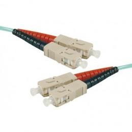 Jarretière optique duplex multimode OM3 50/125 SC-UPC/SC-UPC aqua - 50 m
