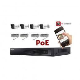 Kit vidéosurveillance PoE 4 caméras IP tube full HD 2MP voomstore.ci