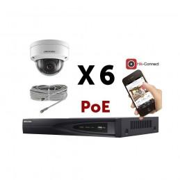 Kit vidéosurveillance PoE 6 caméras IP dôme full HD 2MP voomstore.ci