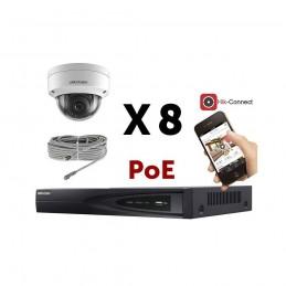 Kit vidéosurveillance PoE 8 caméras IP dôme full HD 2MP voomstore.ci