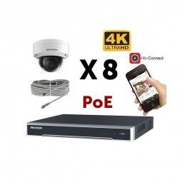 Kit vidéosurveillance 4K PoE 8 caméras IP dôme antivandale voomstore.ci