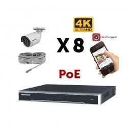 Kit vidéosurveillance 4K PoE 8 caméras IP mini-tube voomstore.ci