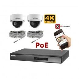 Kit vidéosurveillance 4K PoE 2 caméras IP dôme antivandale voomstore.ci