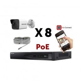Kit vidéosurveillance PoE 8 caméras IP tube full HD 2MP vomstore.ci