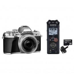 Olympus E-M10 MK III Argent + 14-42mm EZ Pancake + Olympus LS-P2 + Adaptateur Flash + Carte MicroSD 4 Go voomstore.ci