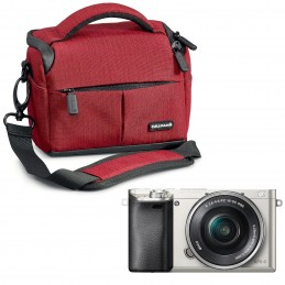 Sony Alpha 6000 + Objectif 16-50 mm Argent + Cullmann Malaga Vario 200 Rouge voomstore.ci
