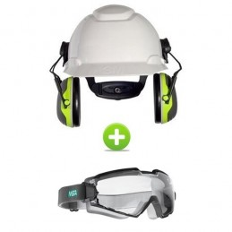 Pack Casque De Chantier + Protection Auditive + Lunettes