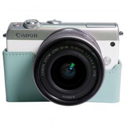 Canon EOS M100 Blanc + EF-M 15-45 mm IS STM + Étui turquoise