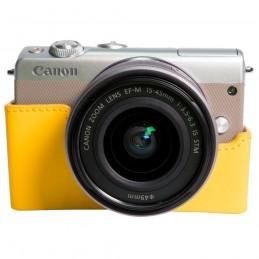 Canon EOS M100 Argent + EF-M 15-45 mm IS STM + Étui jaune